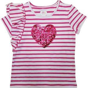 NWT - Sequin Heart Girls Shirt Ruffle Top. 4